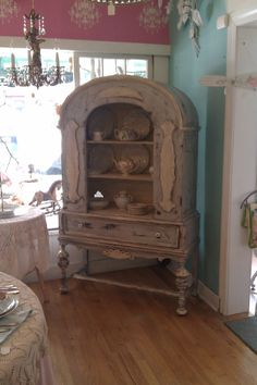 antique chic china cabinet french blue shabby distressed country cottage coastal display curio prairie. $695.00, via Etsy.