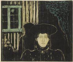 Edvard Munch (Norwegian, 1863-1944), Moonlight I (Sch. 81; W. 90), 1896. Woodcut on Japan paper.