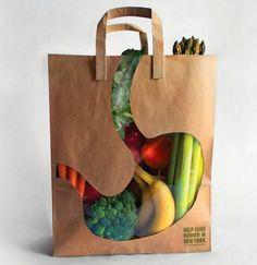 """Sjovt og kreativt design til bæreposer med kig til varerne - Creative """"what´s in the bag"""" design for carrier bag"""