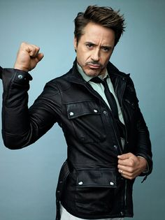 Tony Stark doing a great Robert Downey, Jr. Robert Downey Jr., Men's Leather Jacket, Iron Man Tony Stark, Hollywood, Gq Magazine, Downey Junior, Good Looking Men, Perfect Man, Sherlock Holmes