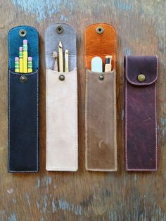 Your place to buy and sell all things handmade Leather Pencil Case- Utensil, pen, crochet hook case Leather Art, Leather Gifts, Leather Design, Leather Tooling, Leather Wallet, Leather Totes, Handmade Leather, Vintage Leather, Leather Purses