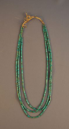 OLD VINTAGE NAVAJO NECKLACE - 3 VERY THIN STRANDS OF TURQUOISE HEISHI - 24 1/2""