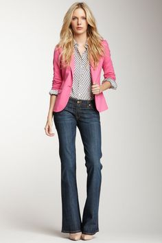 short jacket and jeans, always a go-to, easy look.