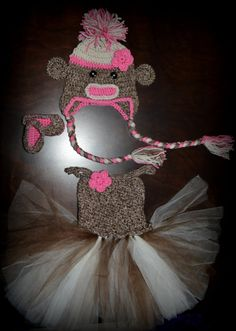 Crochet Sock Monkey Tulle Tutu Dress with Matching Earflap Hat & Shoes Baby Costume Handmade Photo Prop $80