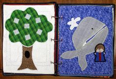 The tree is supposed to be a family tree with little apples that have pictures of family members on them. Just haven't finished those dang apples. The other page is Jonah and the Whale. The whale has a zippy mouth so he can eat Jonah. (Non-Christians can change it to a shark eating fish)