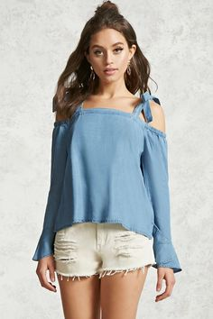 Forever 21 Contemporary - A chambray top featuring an open-shoulder design, self-tie shoulder straps, long sleeves with ruffled cuffs, and a boxy silhouette.