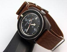 Vostok Black dial Scuba Dude with bezel mod Big Watches, Dream Watches, Wrist Watches, Elegant Watches, Beautiful Watches, Vintage Rolex, Vintage Watches, Zeppelin Watch, Vostok Watch