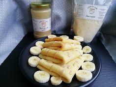 Mini clatite cu faina de migdale - Healthy Sweets, Healthy Food, Healthy Recipes, Sausage, Gluten, Banana, Bebe, Healthy Foods, Sausages
