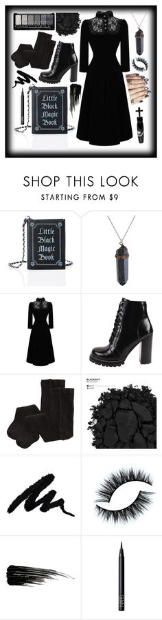 """black magic"" by summersunflower7 ❤ liked on Polyvore featuring Current Mood, Manic Panic NYC, Jeffrey Campbell, H&M, Urban Decay, NARS Cosmetics, goth, gothic, witch and allblack"
