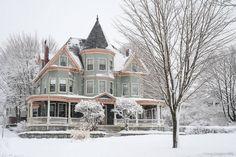 "steampunktendencies: "" Snowy Victorian Houses """