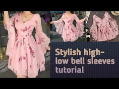Very stylish and trendy high low bell sleeves perfect cutting and stitching tutorial l Sleeves Designs For Dresses, Dress Neck Designs, Sleeve Designs, Dresses With Sleeves, Stitching Dresses, Baby Frocks Designs, Kurta Neck Design, Kurti Designs Party Wear, Frock Design