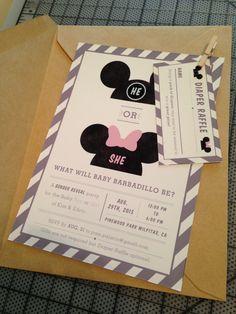 Minnie Mouse gender reveal, invitation Gender Reveal Invitations, Invitation Ideas, Party Invitations, Disney Gender Reveal, Baby Gender Reveal Party, Disney Pregnancy Announcement, Disney Maternity, Disneyland Ideas, Party Themes
