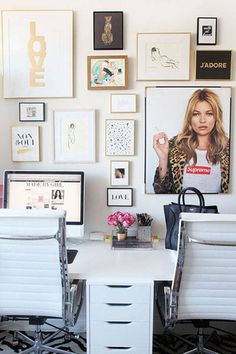 Add some inspiration to your desk with a gallery style wall (Kate Moss photos are always a do).   - HarpersBAZAAR.com