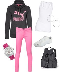 """""""puma pink"""" by lsimms75 on Polyvore"""