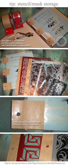stencil storage = brilliant!!  Use a 3-ring binder.  If they don't have holes in them already, fold a medium-sized piece of masking tape (creating a tab) to put a hole punch through.