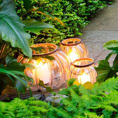 Clusters of lights bring warmth to the patio corners.