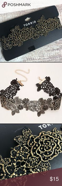 "Torrid Metallic Lace Choker NWT If you're going to be as obsessed with the choker trend you might as well rock the best one. Black lace already brings the sultry vibes, with gold metallic highlighting the rosette designs. Lobster clasp 14.5""long with 5"" extender torrid Jewelry Necklaces"