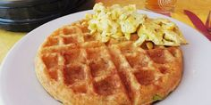 Cheddar Chipotle Waffles with Scrambled Eggs