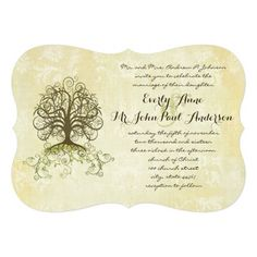 Brown and Moss Green Swirl Tree Vintage Damask Personalized Wedding Invites.  $3.85