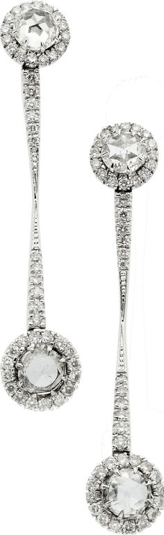 Diamond Drop Earrings in White Gold