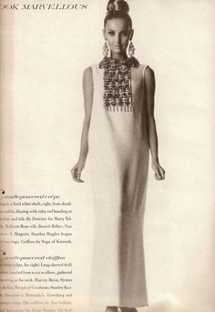 1960s White Evening Dress with Beaded Bib