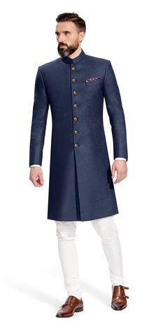 Shop for the Gurhkan Navy Blue Sherwani Mens Indian Wear, Mens Ethnic Wear, Indian Men Fashion, Mens Fashion Suits, Blue Sherwani, Sherwani Groom, Mens Sherwani, Wedding Kurta For Men, Wedding Dresses Men Indian
