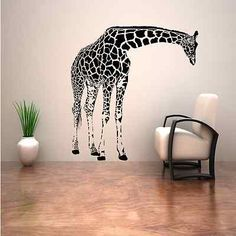 GIRAFFE ANIMAL AFRICAN LARGE WALL STICKER ART TRANSFER DECAL MURAL STENCIL VINYL | eBay