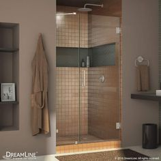 "DreamLine SHDR-23407210 Unidoor Lux 72"" High x 40"" Wide Hinged Frameless Shower Brushed Nickel Showers Shower Doors Swing"