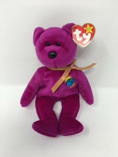 Rare With Tag Errors Ty Beanie Baby Millennium 'Millenium' Bear P. Sell Beanie Babies, Most Expensive Beanie Babies, Valuable Beanie Babies, Beanie Babies Value, Beanie Baby Bears, Ty Babies, Ty Beanie Boos, Ty Stuffed Animals, Animals And Pets