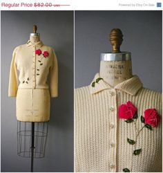 Stunning 1950s cream wool cardigan with bracelet sleeves, rhinestone buttons down the front, small turn down collar and velvet rose embroidery