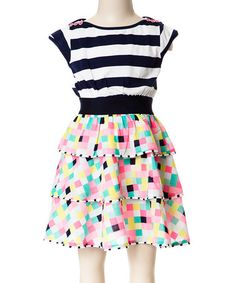 Loving this Navy & Pink Stripe Square Tiered Dress - Girls on #zulily! #zulilyfinds