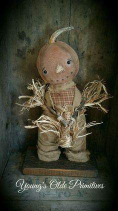 Primitive Standing Pumpkin Boy Doll Fall Halloween