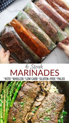 These Easy Steak Marinade Recipes made 6 ways will have you ready for any barbecue or cookout. With 6 easy options to choose from, they'll make your steak extra juicy and tender – and you'll learn how to cook it on the grill, over the stove or in the Air Fryer! Perfectly cooked steak full of Lemon Pepper, Asian, Greek, Chimichurri, Fajita or Balsamic flavors to switch up your steak dinner! All recipes are gluten-free, keto, low carb, paleo + Whole30! Freezer friendly + perfect for meal prep!