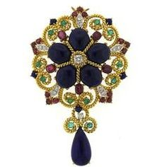 1960 Velký Lapis Ruby Emerald Sapphire Diamond Gold brož s přívěskem