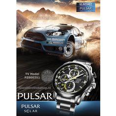 Pulsar PZ6003X1 Heren horloge Zwart Chronograaf Solar Pulsar Rally Solar Horloge