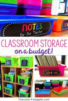 Classroom Storage for Less Organizing classroom materials can be expensive for a teacher. This post has some great tips for making it a little bit cheaper! Classroom Hacks, Classroom Organisation, Teacher Organization, Classroom Decor, Classroom Management, Organized Teacher, Classroom Libraries, Classroom Design, Teacher Hacks