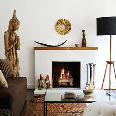 simple fireplace and mantle
