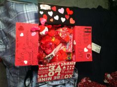 Inside of my care package under the red paper :) Diy Birthday, Birthday Gifts, I Care Packages, Valentines Day Care Package, Deployment Care Packages, Army Girlfriend, Army Love, Red Paper, Gift Wrapping