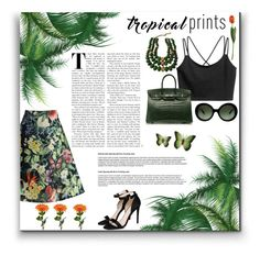 """Tropical Prints with Birkin"" by tirass ❤ liked on Polyvore featuring Chicwish, STELLA McCARTNEY, Hermès, Prada, NOVICA, Castlecliff, tropicalprints and hottropics"