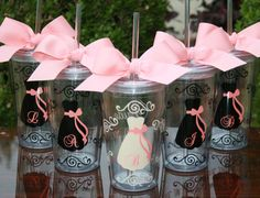 Cute for getting ready so there are no spills! 6 Personalized Bride and Bridesmaids by SweetSouthernCompany. Initial on dress and bride, bridesmaid, or maid of honor on the back side of the cup.
