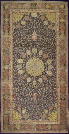 The Ardabil Carpet is the oldest dated carpet in the world. Measuring 10.5 metres by 5 metres, it is also one of the largest. It is dated 946 (unusually for a Persian carpet) which equates to 1539-40 in the Western calendar, and was made for the impressive shrine at Ardabil (also spelt Ardebil) in modern Iran.
