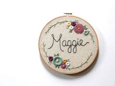 Custom Made Up to 6 Letter Baby Name Embroidery Hoop.