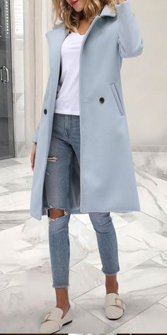 Casual Coat Fashion printed color coat, comfy matetrial and plus size style you can options. Shop now! Mode Outfits, Casual Outfits, Fashion Outfits, Womens Fashion, Petite Fashion, Look Fashion, Winter Fashion, Fashion Coat, Street Fashion