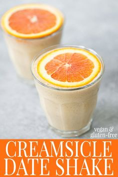 Creamsicle Date Shake! You are going to love this creamy, naturally sweetened vegan and gluten-free shake. Made with fresh oranges, dates, vanilla and almond butter. A MUST try this summer! #vegan #vegetarian #milkshake #smoothie #vegansmoothie