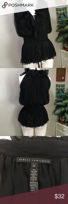 Robert Rodriguez Black Ruffle Blouse 100% Silk Cute Ruffle Blouse Robert Rodriguez Tops Blouses