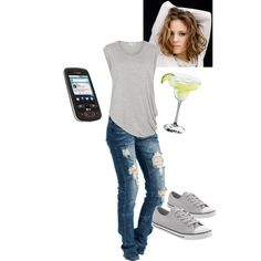 "Ana's Celebratory Drinking Outfit (""Me, I'm more of a Converse and T-shirt kind of girl, but I'm wearing my most flattering jeans."" p.56)"