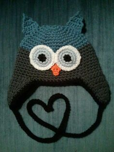 Crocheted Owl Hat Blue Grey  Baby Toddler Child by laceylove81