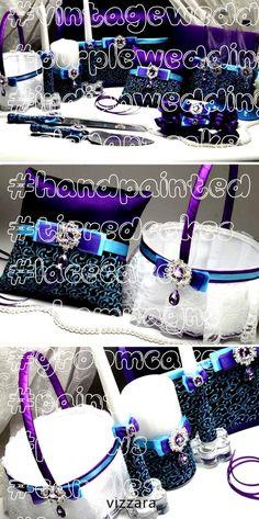 #vintageweddingcakes #purpleweddingcakes #indianweddings #elegantcakes #handpainted #tieredcakes #lacecakes #champagne #groomcake #painted #pillows #candles #bearers #baskets #weddingSet Purple HAND-Painted Wedding cake server sets Ring bearers pillows Wedding boxes Wedding guest books Champagne flutes Unity candles -  Set Purple HAND-Painted flower girls basket flower girl baskets flower girl basket Ring Bearer Pill -Set Purple HAND-Painted Wedding cake server sets Ring bearers pillows W... Wedding Cake Server, Wedding Boxes, Wedding Sets, Wedding Guest Book, Flower Girl Basket, Flower Girls, Unity Candle, Candles, Painted Wedding Cake