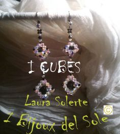 Earrings - Module - I Cubes: design, planning and carrying out by Laura Solerte - I Bijoux del Sole - Copyright 2013.