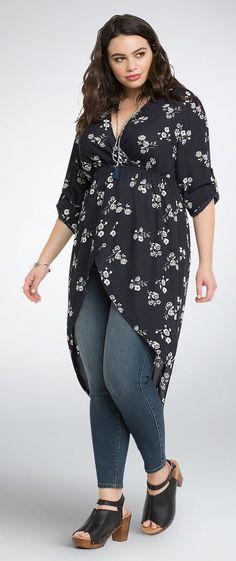 Plus Size Floral Hi-Lo Georgette Tunic